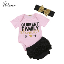 3pcs Arrow Letter Gold Heart Adorable Pink  Newborn Baby Girls Bodysuit Romper Black Dots Sequins Headband Outfits