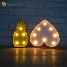 LumiParty  Pineapple LED Night Light Sign 3D Star Marquee Figure Battery Operated Luminaria Desk Lamp For Kids Gift Decor