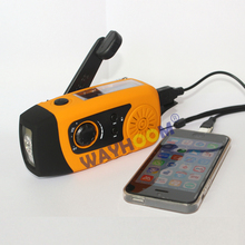 Protable FM radio Hand Crank Generator Solar power radio 2000mah phone charger with flashlight
