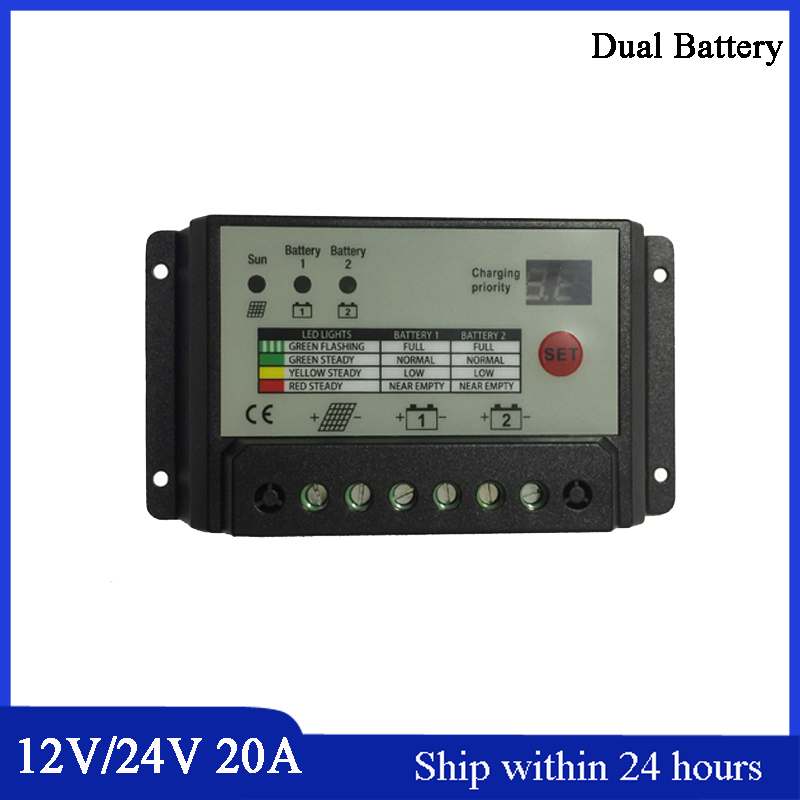 New Design 20A Solar Controller 12V/24V Double Battery Charing Controller/for Home PV System/Smart Charging for 2 Batteies<br>