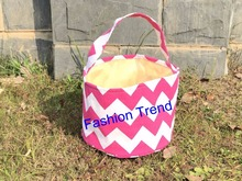 20pcs/lot free shipping kids chevron/dots easter bucket multi colored chevron easter bucket monogram canvas easter bucket