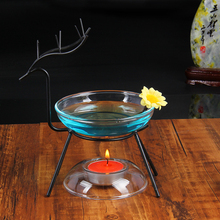 Deer Transparent Glass Incense Burners Sweet Lamp Large Capacity Essential Oil Fragrance Furnace Scented Candle(China)