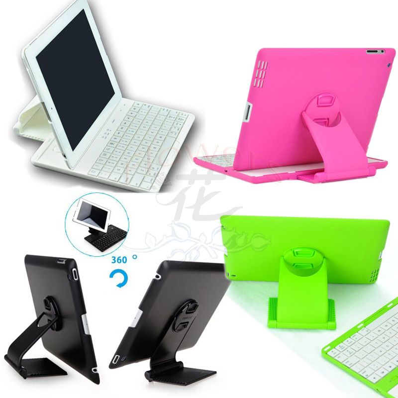 Luxury Electroplated Detachable Wireless Bluetooth Keyboard &amp; 360 Rotating Full-body Cover Case with Stand for iPad 2 3 4<br>