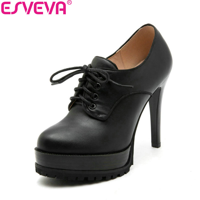 ESVEVA 2018 Women Pumps Concise PU/Suede Lace Up Round Toe Thin High Heels Platform Pumps Western Style Lades Shoes Size 34-43<br>