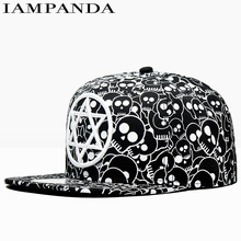 IAMPANDA brand 2017 baseball cap women Black and white skull printing caps snapback hip hop caps hats for men gorra10 wholesale