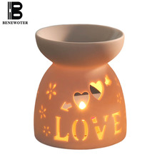 30ml Creative Ceramic Hollow Heart Shape Aroma Burner Oil Lamp Candle Aromatherapy Furnace Stove Burner Essential Oil Aroma Lamp(China)