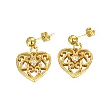diylocket Hot! Fashion Zircon Crystal Heart Drop Earrings Engagement Copper plating Gold Color Earring for women