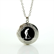 Collares Luxurious Newest Cabochon Locket Necklace Golf Player Sports Silhouette Christmas Gift, Gift For Father's Day T687