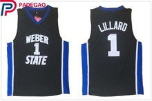 2018 Embroidery Stitched Damian Lillard Jersey Cheap Throwback Basketball Jersey #1 Weber State College Jerseys for gift men(China)