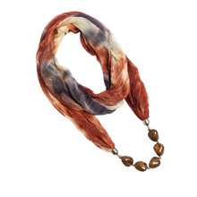 Lureme Hot Selling Polyester Winter Warmth Scarf with Dark Grain Beads Women Pendant Scarves Necklace for Women 10 Colors