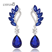 LYIYUNQ Europe and America Fashion Temperament Crystal Jewelry Long Earrings For Women Water Drop Big Earring(China)