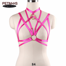 Buy 2017 Womens Bondage Body Harness Belt Lingerie Rose Red Elastic Strappy Tops Cage Bra Goth Sexy Exotic Apparel Nightclub Cosplay