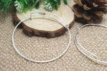 6pcs of Silver Adjustable Bangle Bracelets, Basic Bracelet, Bangle Bracelet Set, Charm Bracelet Base, Wire Bangle Diamete 65mm