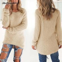 Rabbit Hair Fluffy Women Sweater Short Front Long Back Long Sleeve Warm Knitted Sweater Women Pullover Autumn 2017 Knitwear
