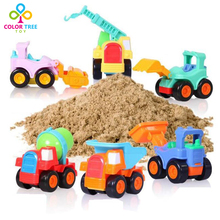 6pcs/set Kids Toy Vehicles Inertial Truck Set Plastic Multifunctional Excavator Educational Toys Car Gifts For Boys