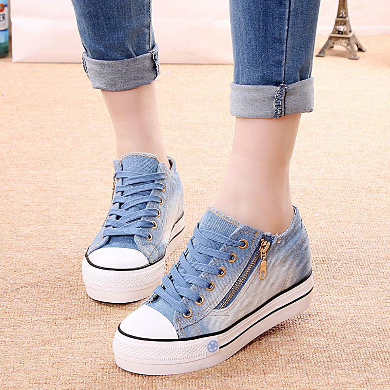 In the spring of   the new low for canvas shoes female side zippers denim heighten students in han edition sponge thick bottom<br><br>Aliexpress