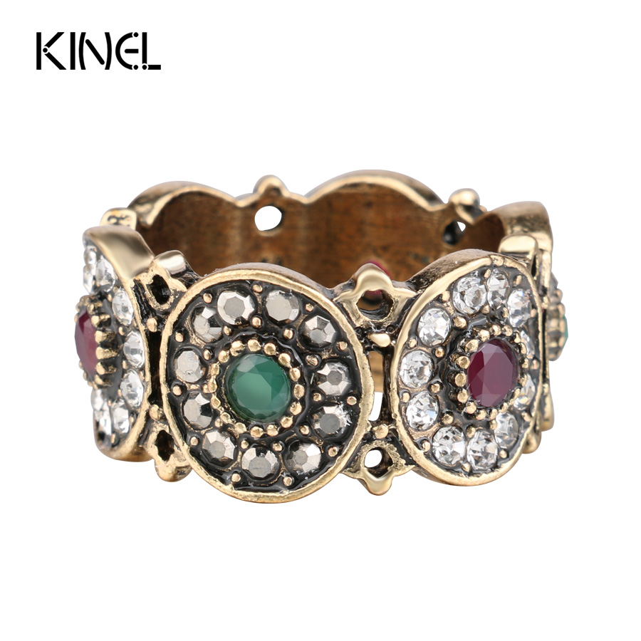 Kinel Turkey Rings Women Hollow Vintage Wedding Ring Jewelry Ancient Gold Color Colorful Resin Stone Anillos Mujer