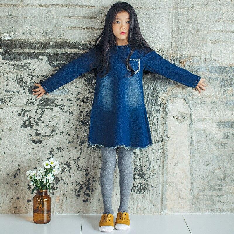 cotton jeans dress girl 10 12 14 years 2018 spring autumn long sleeve denim blue kids dresses for girls 8 years girl clothing<br>