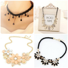 South Korea fashion sexy lace crochet small pure and fresh temperament water flowers crystal chain short chain necklace clavicle