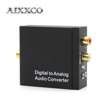 AIXXCO Digital to Analog Converter DAC Digital SPDIF Toslink to Analog Stereo Audio L/R Converter Adapter with Optical Cable
