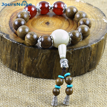 JoursNeige Gold Wire Sandalwood Wooden Separated Red Crystal Bracelets Wood Buddha Beads Hand String Mala Jewelry