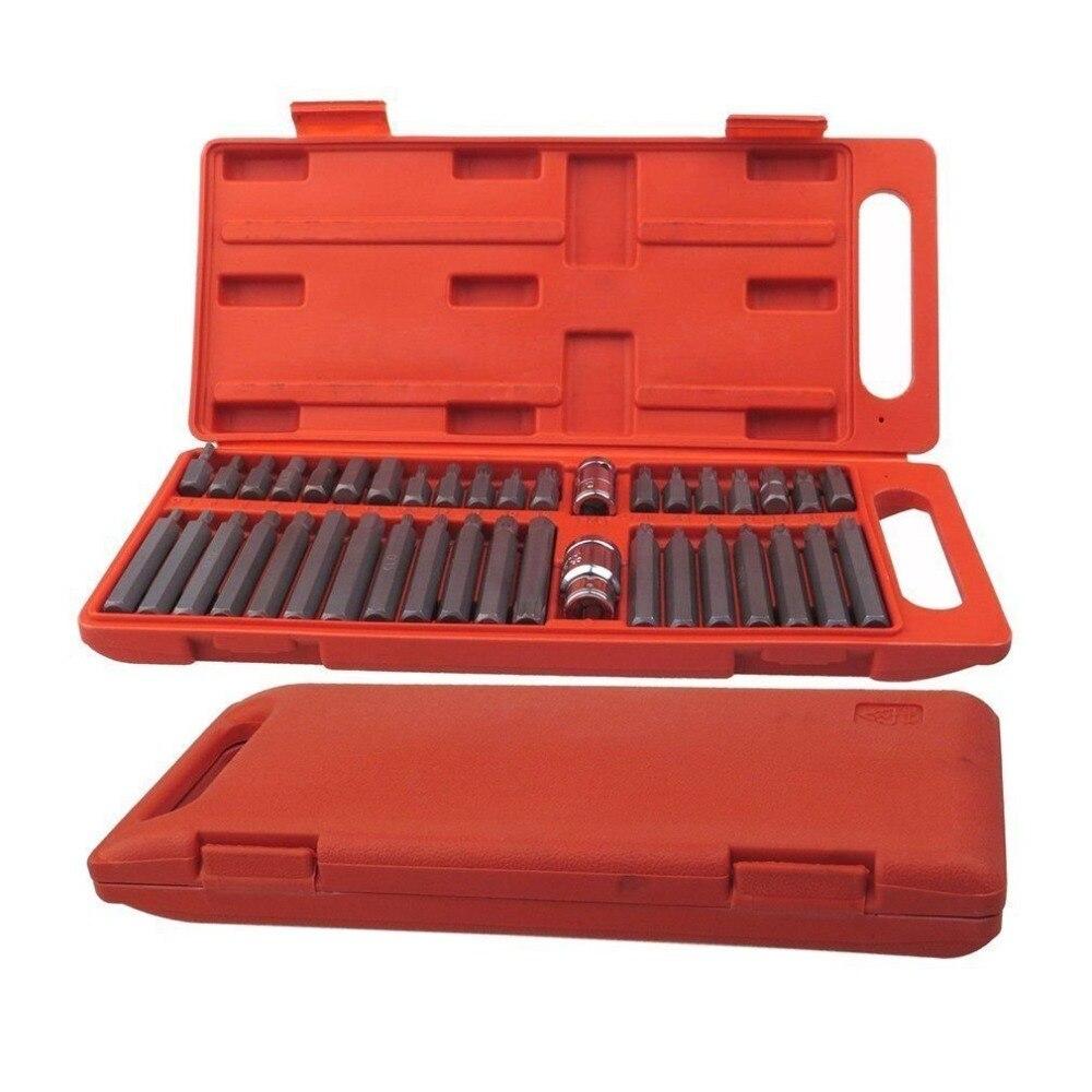 Hot 40Pcs 1/2-Inch and 3/8-Inch Drive Star Torx Spline Hex Bit Socket Set Tool Kit<br>