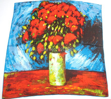 World famous painting 100%silk scarf crepe satin plain shawl (red poppies and daisies - Van Gogh) version 2