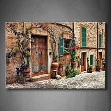Streets Of Old Mediterranean Town Flower Door Windows Wall Art Painting Picture Print Canvas Architecture Picture For Home Decor