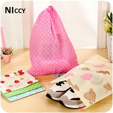 1pc Cute Print Shoe Bags Clothes Bra Underwear Makeup Organizer Non-woven Drawstring Storage Bag For Sundries Toys Travel Bags