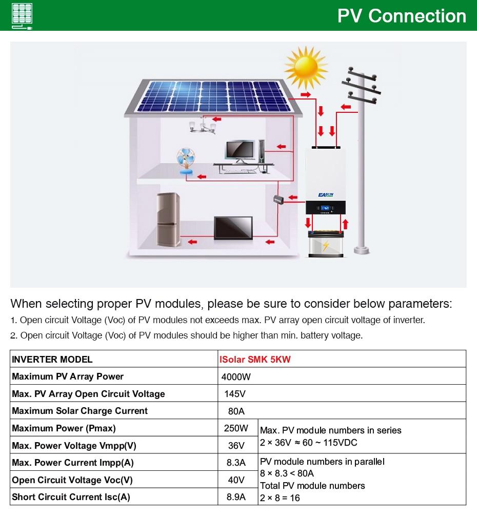 EASUN POWER Bluetooth 5000w solar Inverter 220V 48V Pure Sine Wave Inverter 80A MPPT solar charge 60A battery charger   03