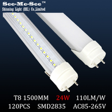T8 led tube 1500MM 24w,AC85-265V,SMD2835,120led chips/pcs, 20PCS/Lot, warranty 2 years,SMTB-16-15(China)