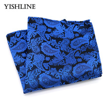 F128 Men's Silk Handkerchief Man Vintage Hanky Jacquard Woven Blue Paisley Pocket Square 25*25cm Wedding Party Chest Towel Gift(China)