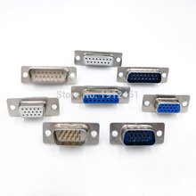 DB15 data cable connector plug VGA Plug connector 2/3 row 15pin female Male port socket adapter D type DP15(China)