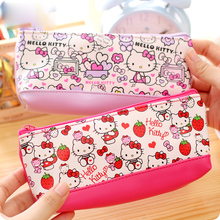 Kawaii Hello kitty pencil case for girls Cute Doraemon PU leather pencil pouch pen bag office school supplies escolar zakka(China)