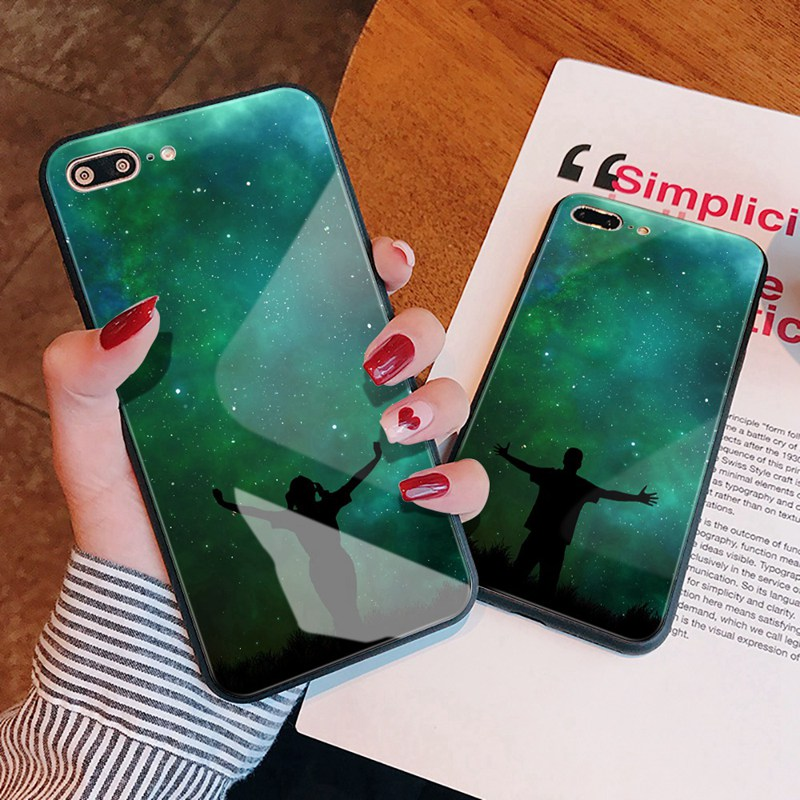 TOMKAS Luxury Space Cover Case for iPhone X Xs Max Xr Xs Glass Silicone Phone Case for iPhone 7 8 Plus Cases for iPhone 6 S 6s (23)