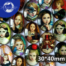 ZEROUP 30*40mm oval glass cabochon girls pictures mixed pattern fit cameo base setting for jewelry flatback 10pcs/lot TP-025(China)