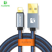 FLOVEME USB Cable For iPhone 7 6 6s 8 5V/2.1A Fast Charge 1m Denim Cables For Lightning To USB Charger For iPhone X 8 Plus Cabo(China)