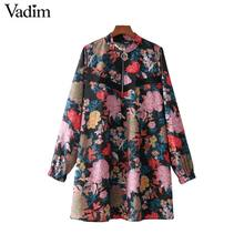 Vadim women vintage floral pattern straight dress zipper o neck long sleeve retro ladies chic mini dresses vestidos QZ3538(China)