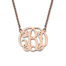 Wholesale Rose Gold Color Celebrity Monogram necklace Handmade Monogrammed Cut Out Initial Pendant Fashion Bridesmaids Gift