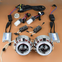 Sinolyn Car Styling 35W HID Bixenon Projector Lens Headlight Double Angel Eyes Halo Xenon Headlamp Lenses Retrofit Kit H1 H4 H7(China)