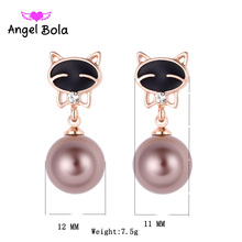 Pryme Pearl Earrings Cat Stud Earring Plated Austrian Crystal Earings For Women Wholesale 10Pcs/lot ZE-007(China)