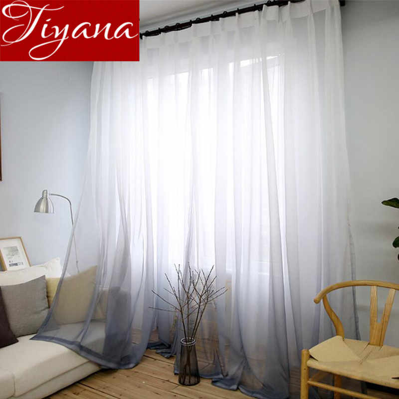 Curtains Gradient Color Print Voile Gray Window Modern Living Room Curtains Tulle Sheer Fabrics Rideaux Cortinas T&185 #30