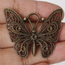 Fashion Sale 36*48mm 2pcs/lot Zinc Alloy Charms Antique Bronze Plated Butterfly Charms Pendants Metal Jewelry Findings Fit DIY