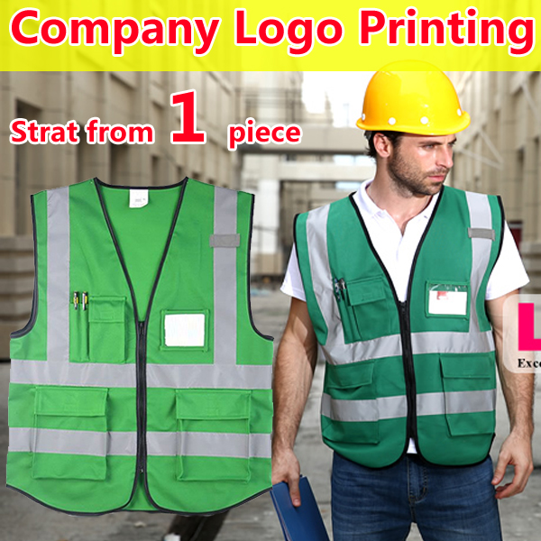 Hi vis clothing workwear green reflective vest safety gilet with pockets free shipping <br><br>Aliexpress
