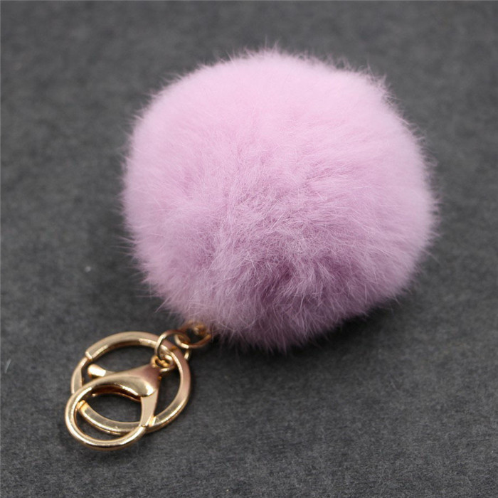 8CM Fluffy Pompom Real Rabbit Fur Ball Key Chain Women Trinket Pompon Hare Fur Toy keyring Bag Charms Ring Keychain Wedding Gift (21)