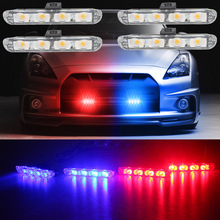 4x4/led DC 12V Strobe Warning Light Net Light Car Truck Light Flashing Firemen Lights 4 in 1 LED DRL Ambulance Police light