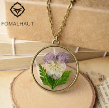 FOMALHAUT pansy Jewelry Crystal Glass Ball Necklace Long Strip Leather Chain Pendant Necklaces For Women XX-47(China)