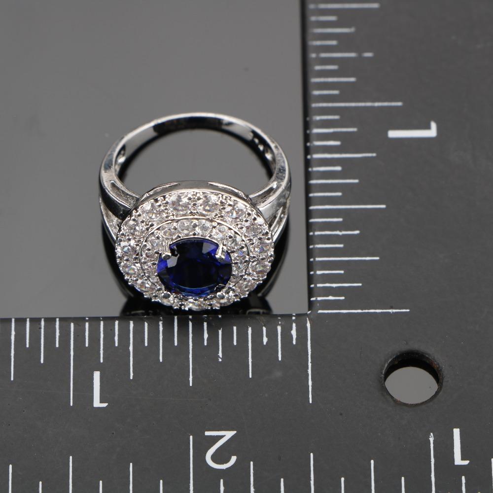 طقم مجوهرات  الأزرق الزركون فضية 925 5