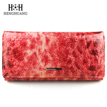 HH Genuine Leather Women Wallet and Purse Leopard Print Clutch Wallets Luxury Vintage Hasp Ladies Long Purse Coin Bag(China)