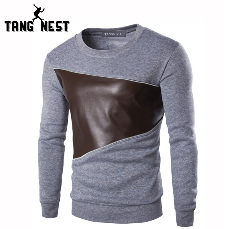 Tangnest T Shirt Men 2017 Leisure Pu Leather Sching O Neck Casual Fashion Spell Color Patchwork S Mtl711 In Shirts From